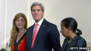 Samantha Power, ambassador to the United Nations, US Secretary of State John Kerry and Susan Rice, US ambassador to the United Nations appear at a meeting in New York on 23 September 2013