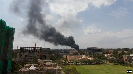 Smoke rises from Westgate centre. 23 Sept 2013