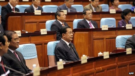 Cambodian Prime Minister Hun Sen (front C) sits during the National Assembly meeting in Phnom Penh on 24 September 2013