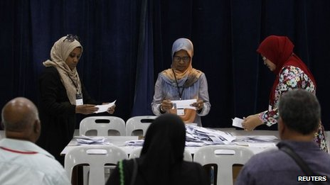 Officers at a counting centre count ballot papers in front of election monitors during presidential elections in Male, 7 September 2013