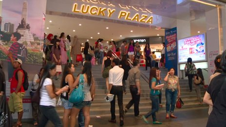 Lucky Plaza along Orchard Road in Singapore