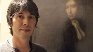 Professor Brian Cox with a portrait of Robert Boyle