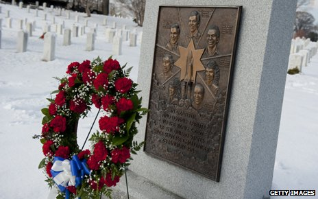 Wreath at memorial for Challenger Space Shuttle at Arlington National Cemetery in Virginia