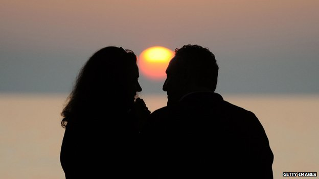 Lovers in the Italian sunset