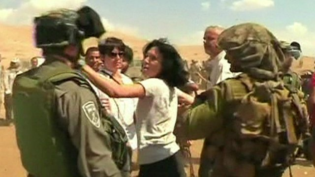 Video from the scene showed Ms Fesneau-Castaing lashing out at an Israeli officer