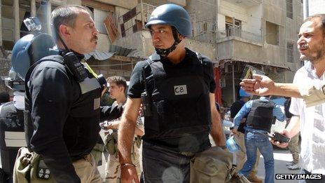 UN inspectors in Ghouta, August 2013