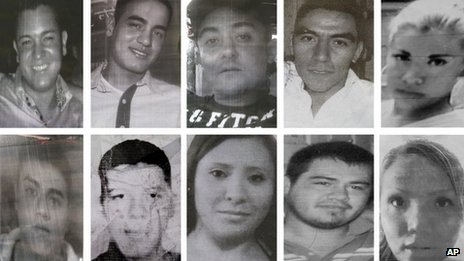 Photos of 10 of the 12 youths of went missing after visiting in a bar in Mexico City in May 2013
