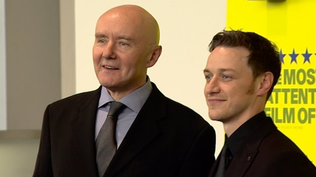 Irvine Welsh and James McAvoy at the world premiere of Filth in Edinburgh