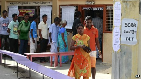 File photo: voters at a polling station during the northern provincial council election in Jaffna, Sri Lanka, 21 September 2013