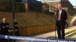 Norman Baker at Luton's guided busway launch