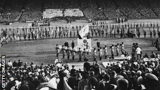 A view of the closing ceremony of the 1948 Olympic Games, Wembley Stadium