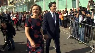 Ed Miliband and wife Justine arrive at the conference centre