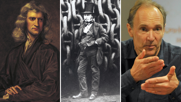 Sir Isaac Newton, Isambard Kingdom Brunel, Sir Tim Berners-Lee. Pictures via Getty