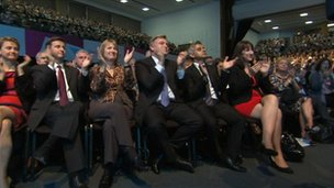 Labour front bench team applauding Miliband's speech
