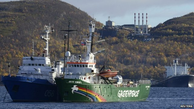 Greenpeace ship Arctic Sunrise anchored outside the Arctic port city of Murmansk