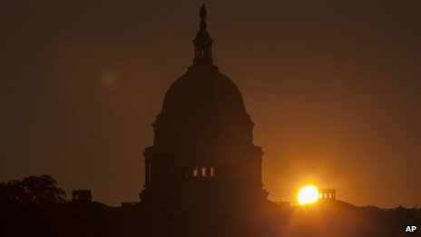 The sun rises over the Capitol in Washington 24 September 2013