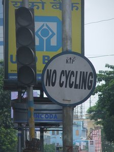 No cycling signs in Calcutta