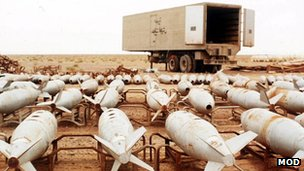 Rows of chemical bombs waiting to be destroyed, Iraq