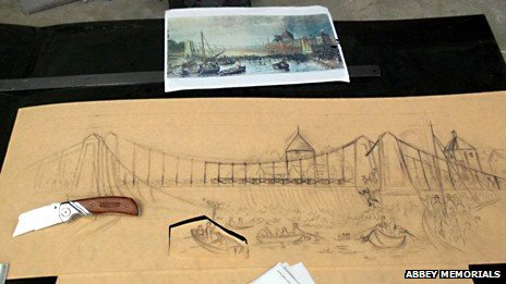 Drawings placed on suspension bridge memorial