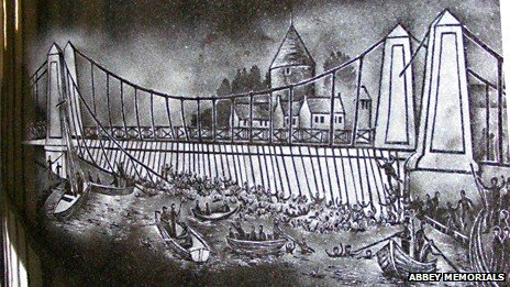 Scene from Great Yarmouth suspension bridge disaster memorial