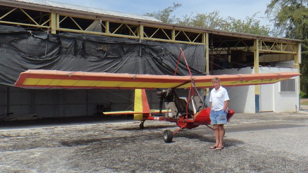 John Bryden with his micro-light aircraft