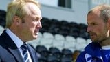 Kilmarnock chairman Michael Johnston (left) in conversation with manager Allan Johnston