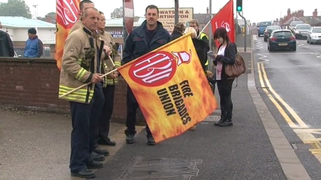 Striking firefighters in Wrexham
