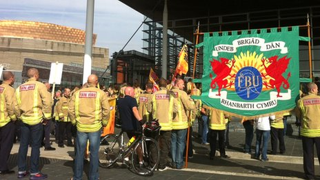 Firefighters rally at the Senedd
