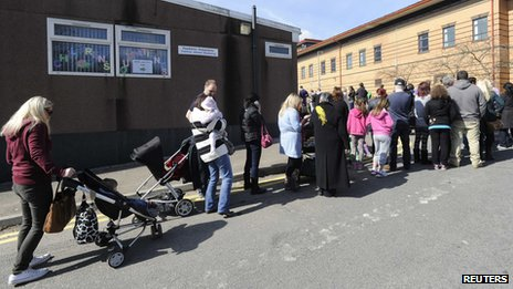 Queue for MMR booster jab at Morriston Hospital, Swansea in April 2013