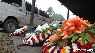 A funeral van is parked outside Nairobi's mortuary on September 25, 2013