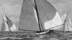 1887: By the eighth edition of the America's Cup, the boats have already changed significantly. American sloop Volunteer (left) beats Britain's Thistle (right) in New York. Volunteer is the first America's Cup yacht to have an all-steel frame and hull, with a pine deck.