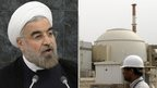 Iranian President Hassan Rouhani and the Bushehr nuclear power station