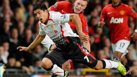 Obligatory Phil Jones face during Liverpool match (Luis Suarez also looks ridiculous!)
