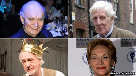 Clockwise from top left: Sir Alan Ayckbourn, Jonathan Miller, Sian Phillips, Edward Petherbridge