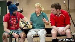 Andy Rush, Vivienne Gibbs and Jamie Samuel from Jumpers for Goalposts
