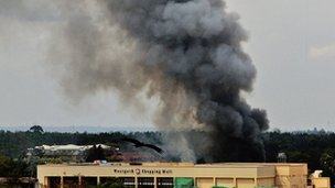 Smoke rising from Westgate Shopping Mall in Nairobi