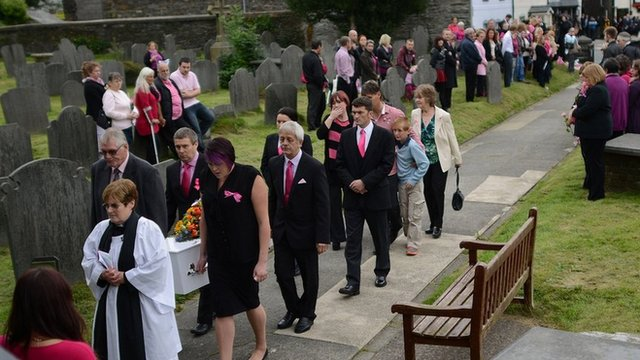 April Jones coffin taken into St Peter's Church
