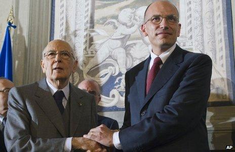 Giorgio Napolitano (left) and Enrico Letta
