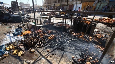 Remains of a bombed vegetable market in Basra, 340 miles (550km) south-east of Baghdad (15 September 2013)