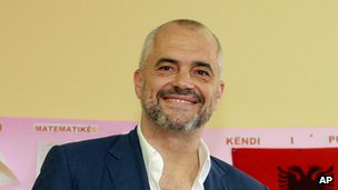 Edi Rama appears at a polling station in Tirana to cast his ballot in the 2013 parliamentary election