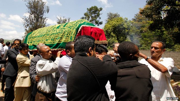 Coffin of Kenyan journalist Ruhila Adatia-Sood on 26 September 2013