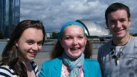 Natalie and Gaelan and Annie in Glasgow