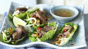 Vietnamese beef and lettuce wraps