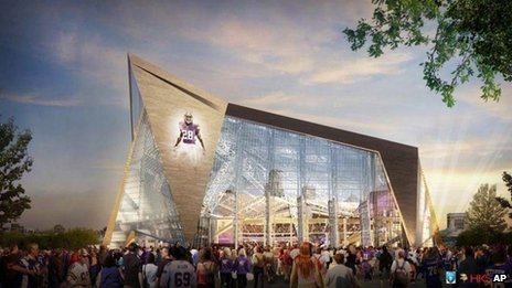 An artists impression of the new Minnesota Vikings stadium