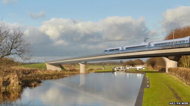 Artist's impression of the Birmingham and Fazeley viaduct, part of the HS2 proposed route