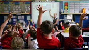 Children at school in Stockport raising their hands