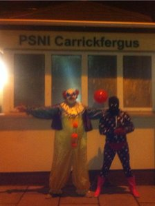 Carrick Killerclowns outside Carrickfergus PSNI station