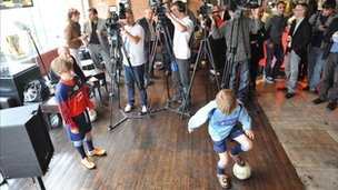 Youngsters practise their skills at the launch of the Hoddle venture