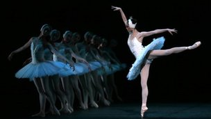 Ballet dancers from the National Ballet of China performing in Swan Lake