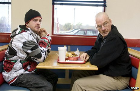 Jesse and Walt in a diner